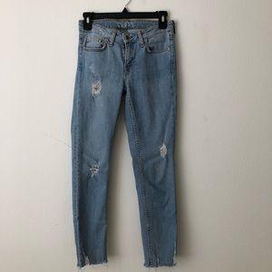 Zara Light Wash Distressed Jeans